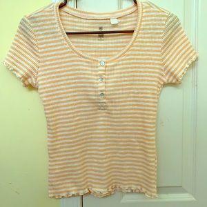 Barely Worn Light Orange and White Striped Shirt